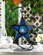 D1138 Blue Sapphire Glass Star Tabletop Lantern - $16.75