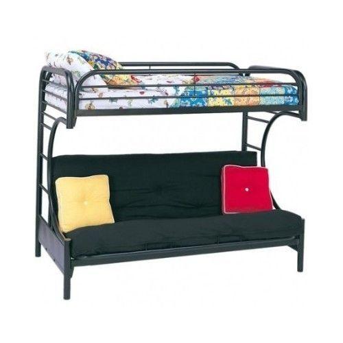 Twin Over Full Bunk Beds Futon Kids Bed Black Metal
