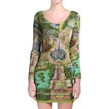 Disneyland Colorful Map Longsleeve Bodycon Dress - $36.99+