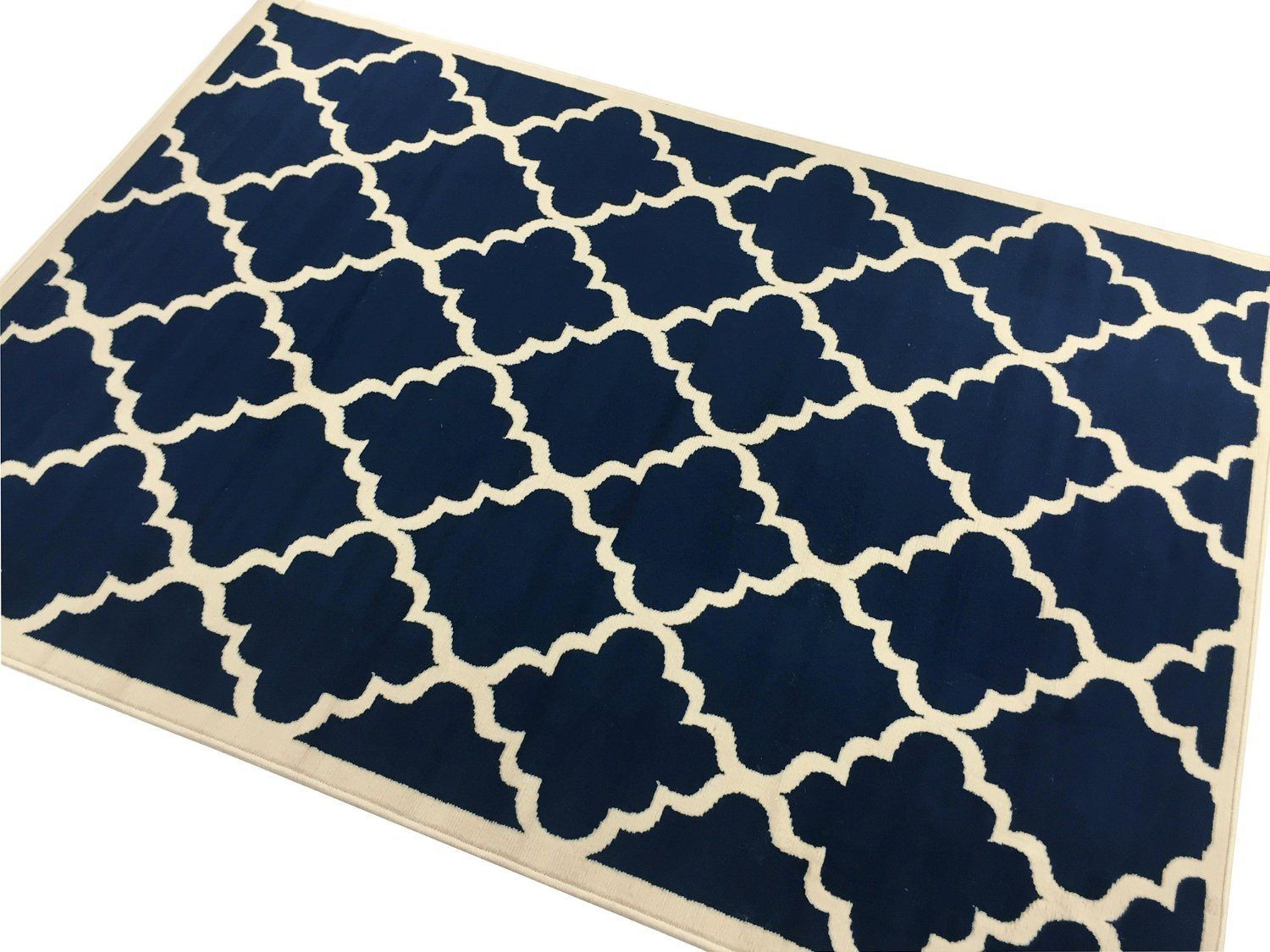 Area rug 8 x 10 fancy trellis navy carpet office living for Living room rugs 8 by 10