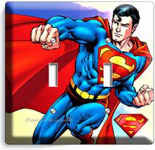 RETRO SUPERMAN SUPERHERO DOUBLE LIGHT SWITCH WALL PLATE COVER BOYS BEDRO... - $9.59