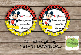 Mickey Mouse favor tag - Instant Download 2.5 inches tag, Printable tag ... - $4.00