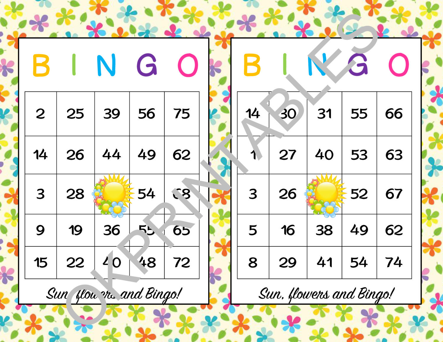 photo regarding Spring Bingo Game Printable known as 50 Solar and bouquets Bingo playing cards - Printable and 10 equivalent goods