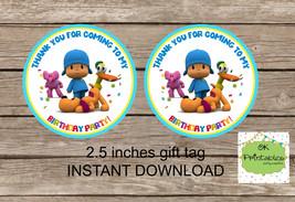Pocoyo tag- Pocoyo party favor tag - DIGITAL Pocoyo 2.5 inches tag,  - $4.00
