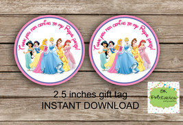 Disney Princess favor tag - DIGITAL 2.5 inches tag, Printable tag - Pri - $4.00