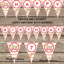 Minions girl PARTY PRINTABLE Banner - Instant Download - pink lemonade p... - $4.99