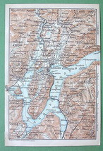 1899 MAP ORIGINAL Baedeker - ITALY Lake Lugano - $6.44