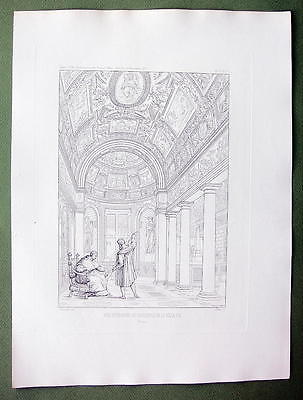 ARCHITECTURE 2 PRINTS : Italy Rome Vatican Interior & Plan of Villa Pia