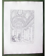 ARCHITECTURE 2 PRINTS : Italy Rome Vatican Interior & Plan of Villa Pia - $33.66
