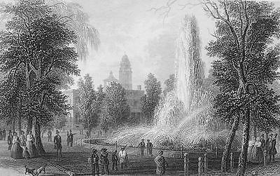 AMERICAN SCENERY New York City Hall Park & Fountain - Antique Print