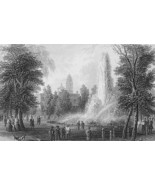 AMERICAN SCENERY New York City Hall Park & Fountain - Antique Print - $9.84