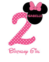 Minnie Mouse Birthday Iron On Transfer. Digital File 24 Hr Turnaround! M... - $4.20