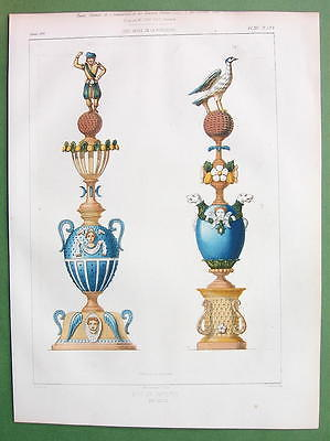 ARCHITECTURE PRINT : Faience Crown Posts Finials - COLOR Lithograph