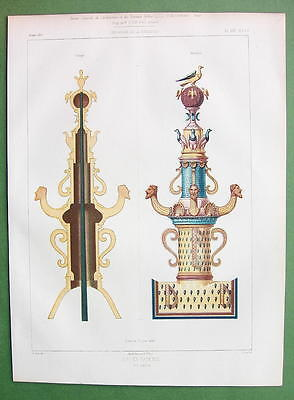 ARCHITECTURE PRINT : Faience Crown Post View & Section - COLOR Lithograph