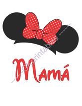 Mamá Mama Mommy Minnie Ears Disney Printable Iron On Transfer- or Use as... - $3.50