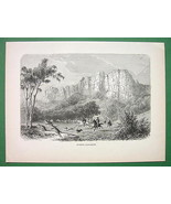 AUSTRALIA Hunting Kangaroos - Antique Print Engraving - $9.84
