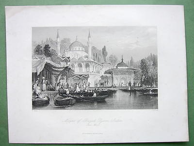 CONSTANTINOPLE Mosque of Buyuk Djami - ALLOM 1840s Original Engraving Print
