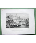 CONSTANTINOPLE Mosque of Buyuk Djami - ALLOM 18... - $33.66