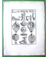 ROMAN LAMPS Objects Altar Decorated - 1814 Antique Print Engraving - $17.82