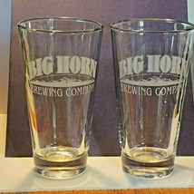 "Lot of 2 Big Horn Brewing Company Etched Logo 6 3/4"" Tall 16 oz Heavy Gl... - $18.46"
