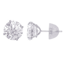 14k Solid White Gold Round Duo Superbright Cubic Zirconia Stud Earrings Set - $47.41