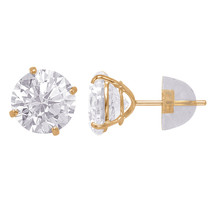 14k Solid Yellow Gold Round Duo Superbright Cubic Zirconia Stud Earrings Set - $47.41