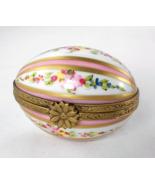 Limoges Box - Floral &  Pink Striped Egg - East... - $65.00