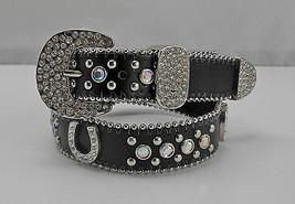 Nocona Black Leather Rhinestone Studded Horseshoe Silver Buckle Belt - Size 26 - $17.05