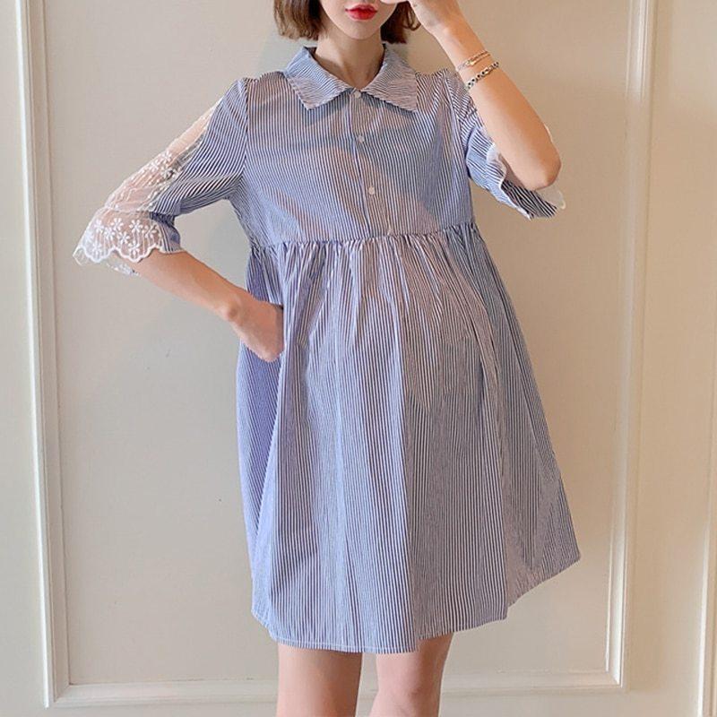 Maternity's Dress Turn Down Collar Stripe Short Sleeve Dress image 3