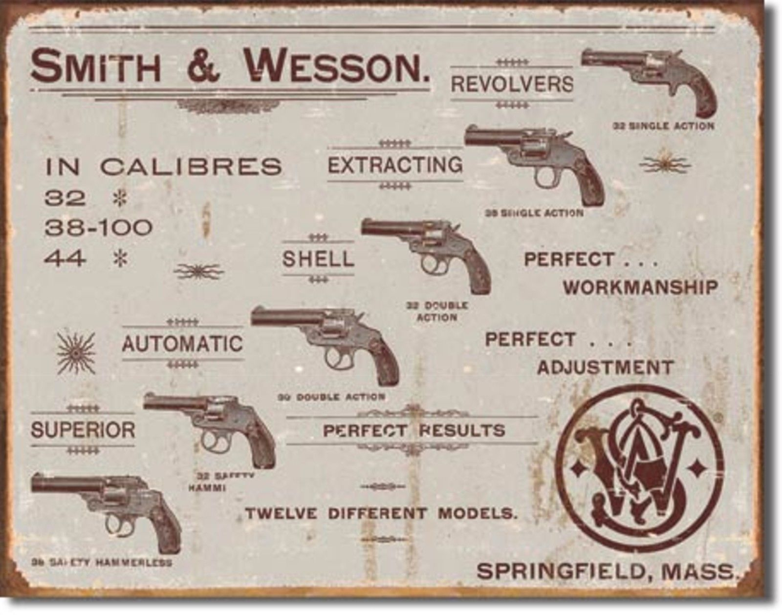 Smith & Wesson Pistols Revolvers Metal Sign Tin New Vintage Style USA #1466
