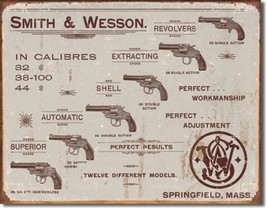 Smith & Wesson Pistols Revolvers Metal Sign Tin New Vintage Style USA #1466 - $12.86