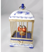 Limoges Box - Rochard Blue Floral Bird Cage wit... - $130.00