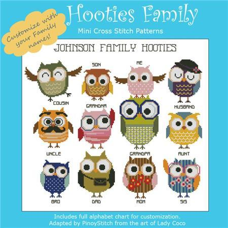 Primary image for Hooties Family customizable owl cross stitch chart Pinoy Stitch