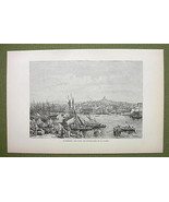 FRANCE Marseilles Harbor Sailships Old Port - 1880s Antique Print - $12.38