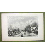 FRANCE Port of Le Havre Sailships Frigates - 1880s Antique Print - $12.38