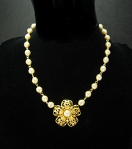 "Vintage GLASS Pearl wedding Necklace Signed Soft Ivory 15"" choker Annive... - $70.00"