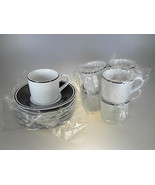 Royal Worcester Classic Black Demi or Espresso Cups & Saucers Set of 7 - $45.49