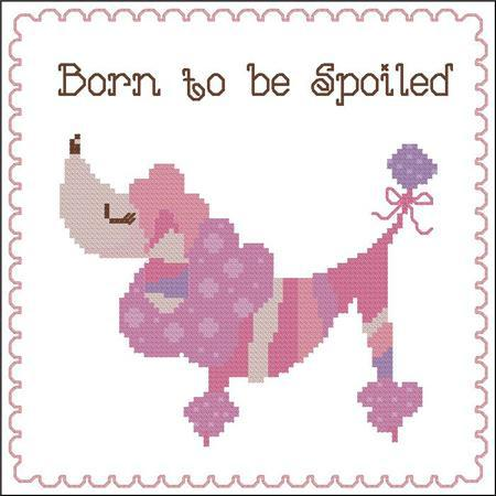Primary image for Born To Be Spoiled poodle pink dog cross stitch chart Pinoy Stitch