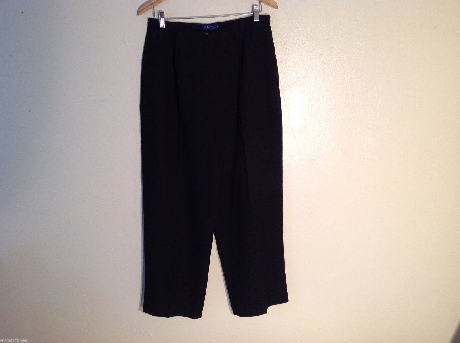 Karen Scott Women's Petite Size 14 14P Dress Pants Black Slacks Fully Lined