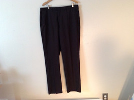Haggar Men's Size L 38/34 Dress Pants Dark Brown w/ Pinstripes, Straight-Leg Cut