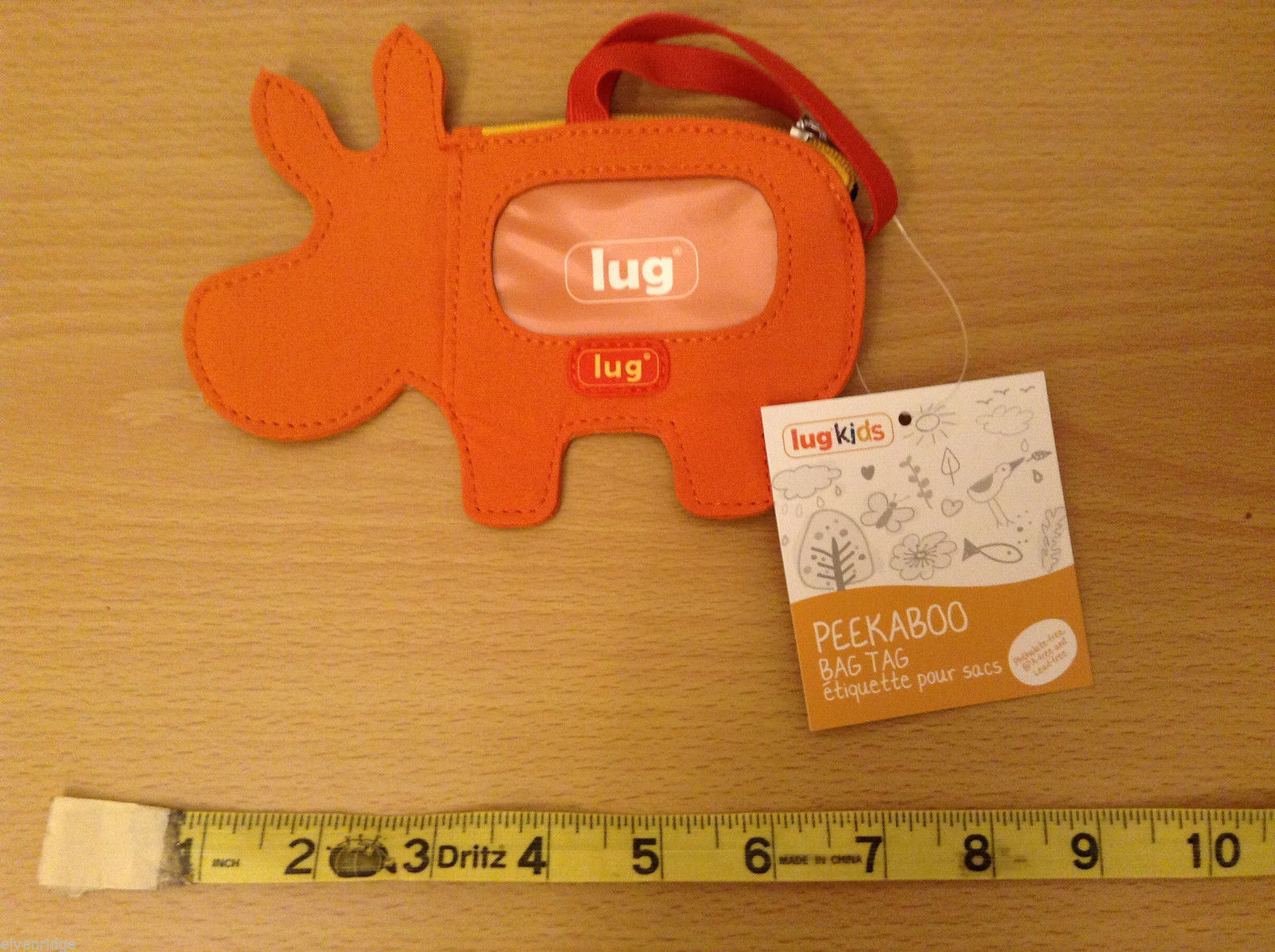 "NWT Lug Kids ""Peekaboo"" Hippo Bag Tag Luggage ID Holder Sunset Orange Hippotamus"