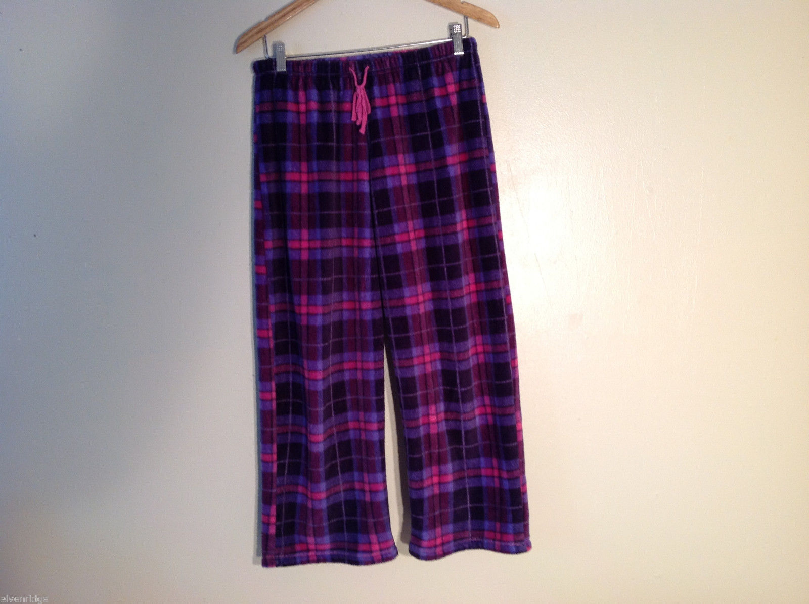 No Brand Women's Size M Pajama Pants Bottoms Drawstring Waist Plaid Purple Pink