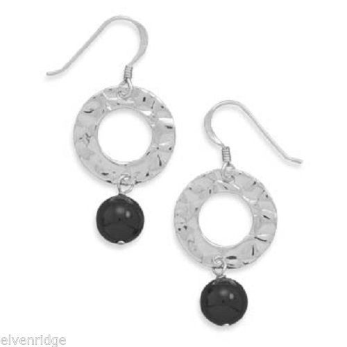Rhodium Plated Hammered Circle Earrings with Black Onyx Bead Drops Sterling