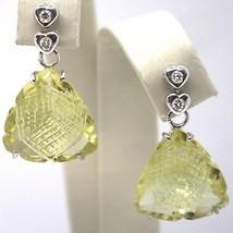 DROP EARRINGS WHITE GOLD 18K, DIAMONDS, QUARTZ LEMON, HEARTS, TRIANGLES image 1