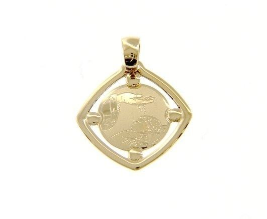 18K YELLOW GOLD PENDANT SQUARE MEDAL REMEMBRANCE BAPTISM ENGRAVABLE MADE ITALY