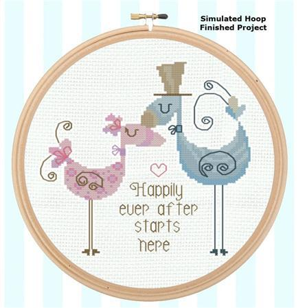 Primary image for Happily Ever After Love Birds wedding cross stitch chart Pinoy Stitch