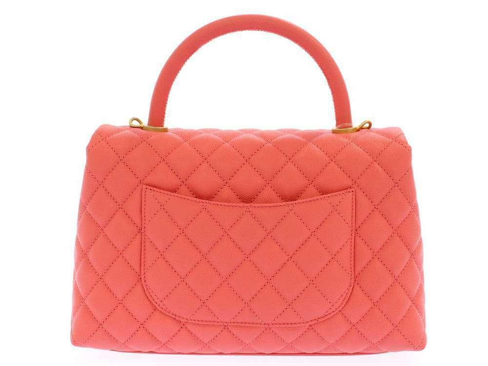 CHANEL Handbag Caviar Leather Salmon Pink CC Logo A92991 Italy Authentic 5500253 image 3