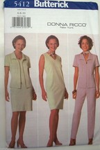 BUTTERICK Donna Ricco New York Pattern 5412 Womens Separates Uncut 1998 ... - $5.99