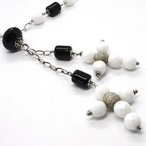 Silver necklace 925, Onyx Black Tube, Double Cross Pendant, Chain Oval image 3