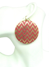 Women new coral glitter gold pattern round disc hook pierced earrings - $24.64 CAD